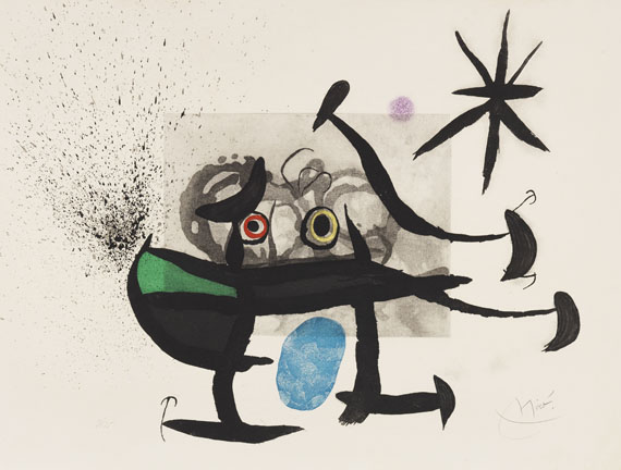 Miró, Joan - Etching and aquatint in colors